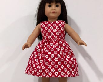 """18"""" Doll Clothes, Red Dress made to fit American Girl Doll, Madame Alexander or other 18"""" dolls"""