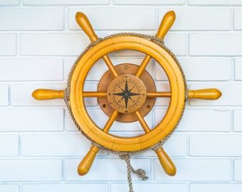 children's toy / wooden helm / nautical helm marine / maritime style toy /