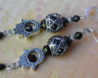 Hamsa earrings. Spiritual earrings. Kabbalah earrings. Evil eye earrings. Protection good luck earrings. Hamsa hand leverback earrings.