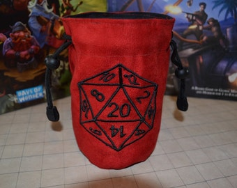 Dice Bag custom Embroidery Suede D20 Dungeons and dragons