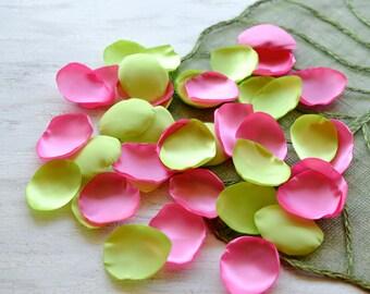 Satin leaf appliques, rose petals, fabric embellishments, fabric petals, wedding petals, silk petals bulk (50pcs)- NEON LIME and BUBBLEGUM