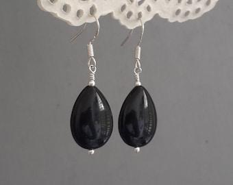 Black onyx earrings Teardrop earrings silver Black teardrop earrings gemstone earrings 925 sterling silver