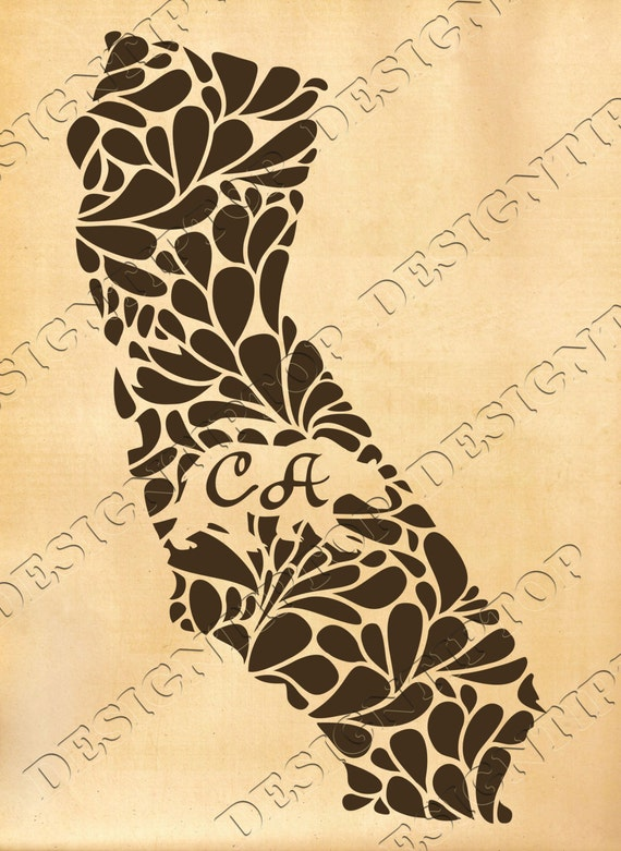 Flower California svg, home state SVG, DXF, print and cut ...