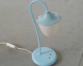 Barnesikring table lamp - 60's - Made in Norway - mid century - norwegian lighting - babyblue metal