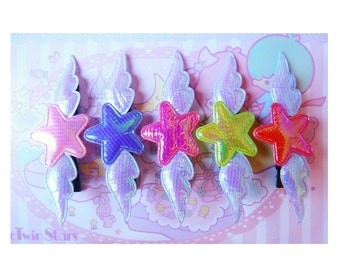 Purple Wings Iridescent Star Hair Clip