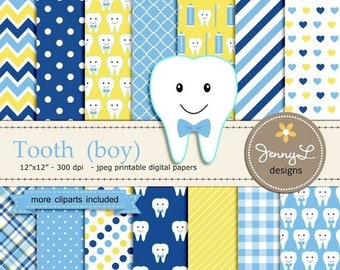 50% OFF Tooth Boy Digital Paper and Clipart, Dental Care, Teeth, Toothpaste, Toothbrush for Baby Shower, Birthday  and Scrapbooking Paper Pa