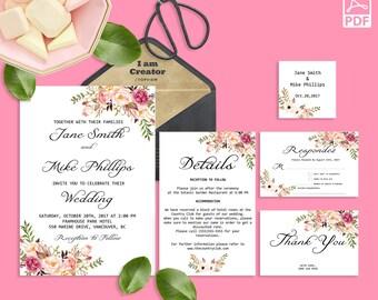 Wedding Invitation Template Invitation Suite Template Printable Editable PDF Marsala Wedding Invitation Wedding Invite Instant Download