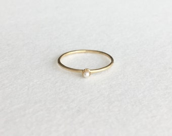 Petit Pearl Ring, 14K Solid Gold Ring, 14K Yellow Gold Ring,  Christmas Present, Engagement Ring