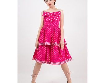 Vintage Victor Costa / 1980s Kawaii hot pink polka dot strapless bow dress / Tiered skirt / Prom dress / S