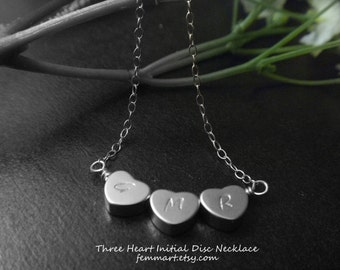 Heart Initial Necklace - Initial Necklace - Three initial Necklace - Sisterhood - Personalized - Friendship
