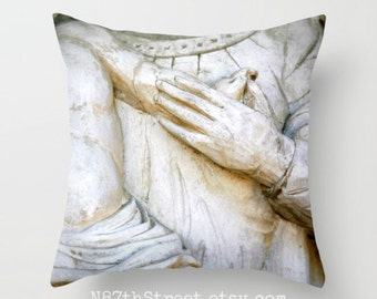 "MOTHER & CHILD 16x16"" Pillow Cover. Photo Art, TMCdesigns. Love. Tenderness. Architectural Statue. Home Decor. Nursery. Children. Nursery."