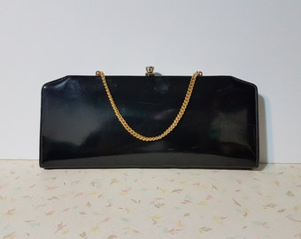 Vintage Black Shiny Mod Clutch Purse 1950's