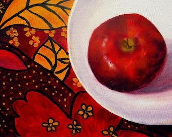 Still Life Apple Painting, Kitchen art, Still life Painting, Original art, Wall decor, Wall Art,