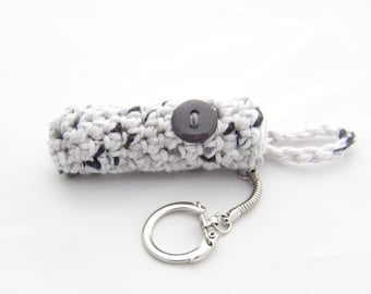 Crochet Keychain Lip Balm Holder - Gray Speckle - Gray Fleck - White and Gray - Charcoal Gray - White - Keychain Lip Balm Cozy