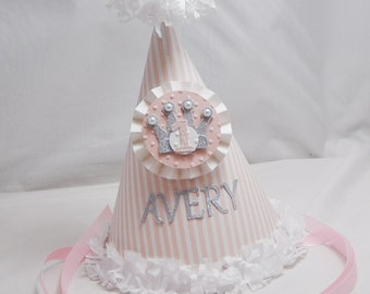 Princess Party Hat with Crown- 1st Birthday Girl- Personalized