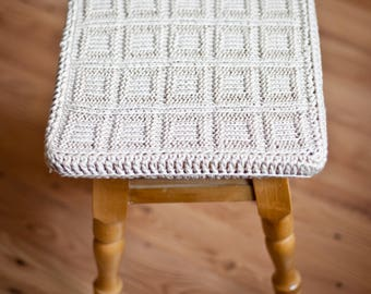 Chair pads Knit cotton cover for square stool. Knit décor. Knit cover for stool. Cover for stool Pillow cushion for stool Chair pads