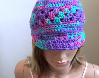 Serendipity Brimster with Hand Dyed Yarn - 100 Percent Cotton Yarn -  All Season Beanie - Colorful Beanie