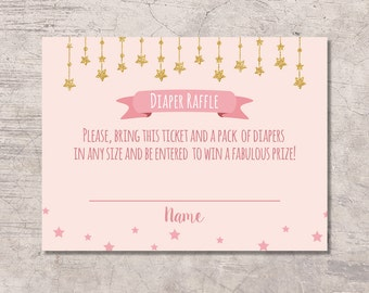 Twinkle Twinkle Little Star Diaper Raffle Ticket Baby Shower Printable, pink gold glitter star, digital file instant download, star princess