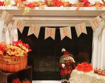 Thankful Banner, Thankful, Mantle Decor, Fall Decor, Thanksgiving Decorations, Thanksgiving Sign, Fall Banner,Fall Decorations,Thanksgiving