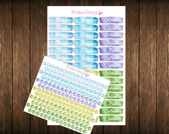 Cool Hues Date Cover Planner Stickers Blue & Green Hues Perfect For Any Planner - Erin Condren - Happy Planner - Functional Stickers