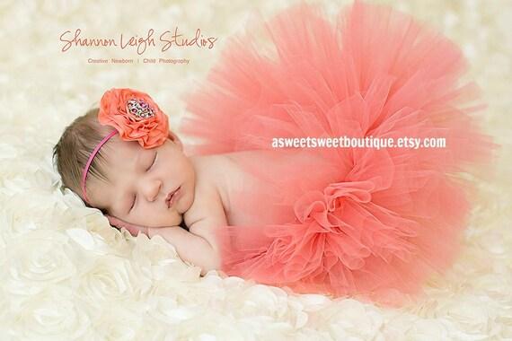 Baby girl coral tutu set coral tutu coral baby tutu set coral