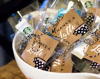 Thanks A Latte Favor Tag, Coffee Favor Tag, Coffee Shower, Coffee Party Favor, Baby Shower Decor, Bridal Shower Decor, INSTANT DOWNLOAD, #H8
