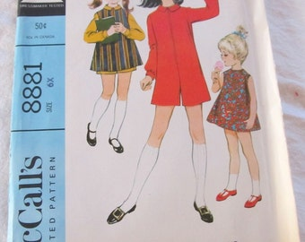 vintage McCALLS 8881 sewing pattern-- Girls Pantdress and Overdress or Dress  (size 6x) --1967