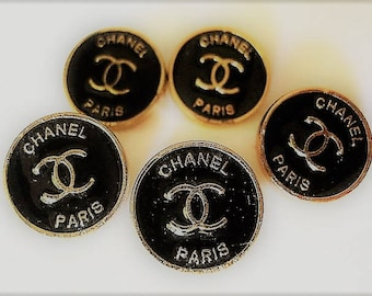 Lot of 5 Chanel Black Enamel Gold Metal Buttons, 13 mm