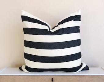 Black & Cream Stripe Pillow Cover 18x18