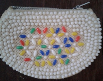 Vintage 60s Small Semi Circle Beaded Coin Purse