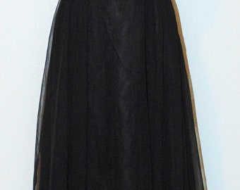 Vintage 1970s Black Chiffon Dress with Beaded designs by Mike Benet in size 12