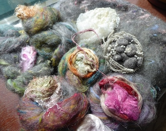 Hope Jacare -  Extra textural felt making pack - plant - silk - wool .....ETFP16