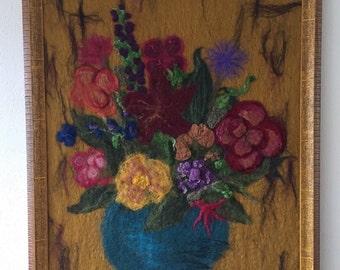 Mixed bouquet, flowers,feltpainting,