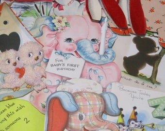 Vintage Greeting Card Lot-Ephemera-Mixed Media-Paper-Crafts-Scrap Booking-Baby-Childrens-Set of 10