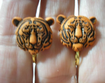 """Play Earring - Clip - Tiger Face - Orange - 1/2"""""""