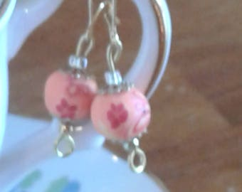Peach Floral Polymer Clay Drop Earrings