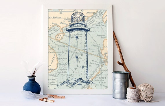 Antique Nautical Bathroom Ideas: Vintage Ocean Map Lighthouse On Map Decor Bathroom Nautical