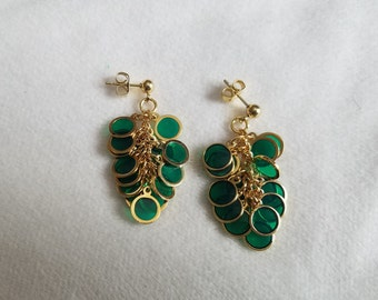 Green & Gold Circle Cluster Earrings