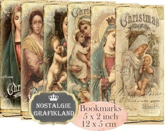 Madonna & Child Bookmarks Instant Download digital collage sheet Vintage Paper E147 Holy Mary