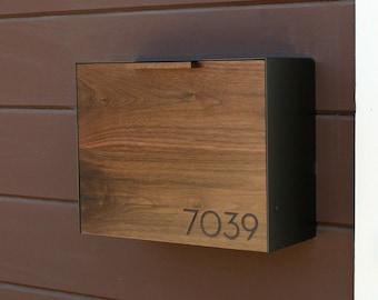 Modern Mailbox Large, Walnut Mailbox, Wall Mounted mailbox