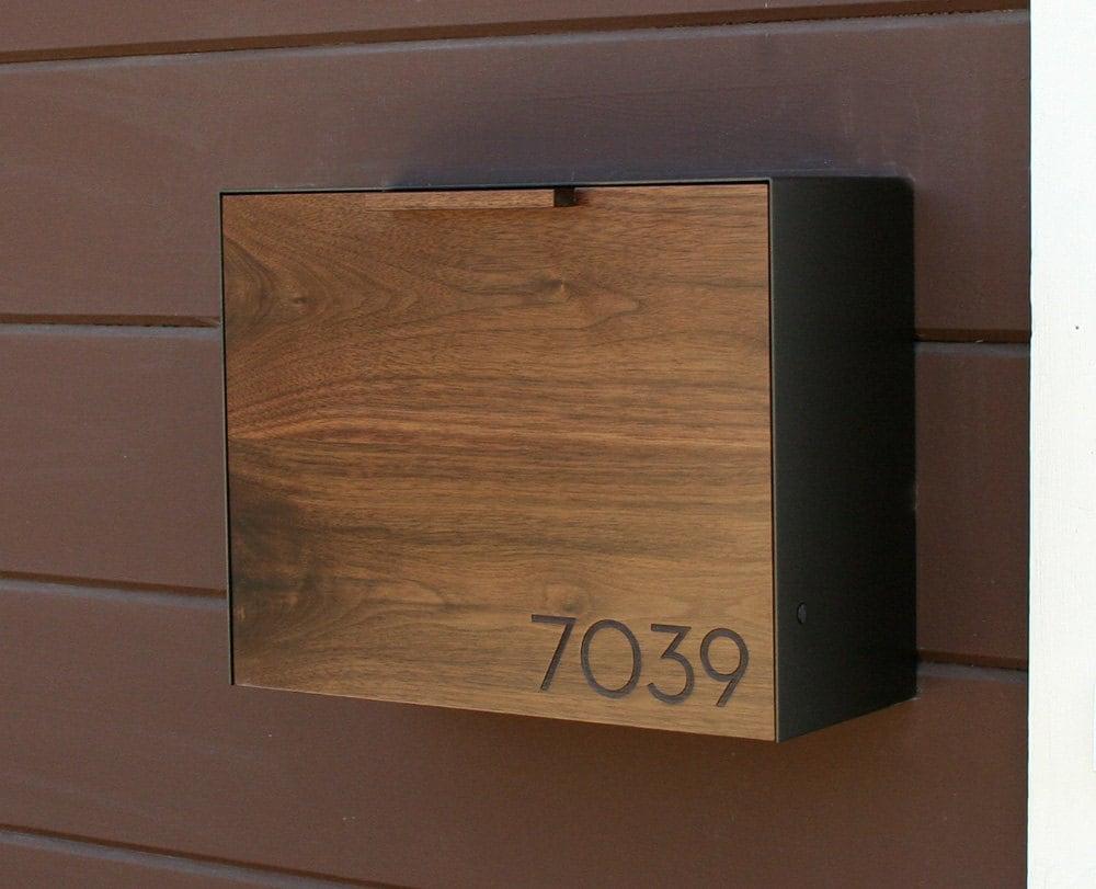 Greatest Modern Mailbox Large Walnut Mailbox Wall Mounted mailbox VJ86