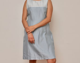Vintage Light Blue and Baby Blue Sleeveless Dress - Vintage 70s Dress - Light Blue Colorblock Dress - 1970s Shift Dress - Jessica Howard 12