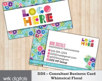 Dot Dot Smile Consultant Business Card, Whimsical Floral Design, Customized Business Card, Direct Sales, Fashion Consultant