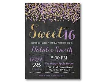 Sweet 16 Invitation. Purple and Gold Sweet 16 Birthday Invitation. Sweet Sixteen Birthday Party. Confetti Glitter Glam. Printable Digital.