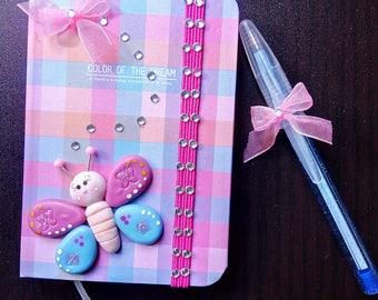 Beautiful Notebook, diary, block, pen decorated handmade porcelain cold butterfly