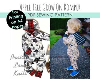 Apple Tree Grow On, Grow With Me Romper A4 SIZED PAPER, A4 Printable *A4 PDF Download* Size Adjustable Clothing for Kids Apple Tree Patterns
