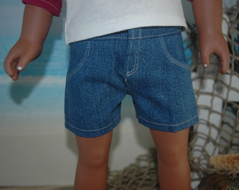 American, Made, boy, girl, doll, blue, jean, fit, 18 inch, doll, shorts, doll clothes