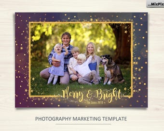 Christmas Card Template, Merry and Bright, Photoshop template 5x7 flat card Gold Merry Christmas