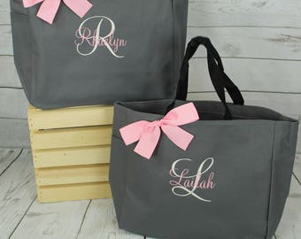 Personalized Cheer Bag, Dance Bag,  Beach Tote Bag, Bridesmaid Gift Tote Bag, Embroidered Tote, Monogrammed Tote, Bridal Party Gift