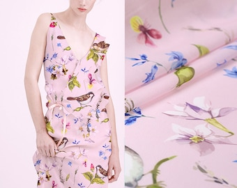150CM Wide 240G/M Weight Birds Thin Pink Polyester Georgette Fabric for Spring and Summer Blouse Dress Shirt Jacket E455